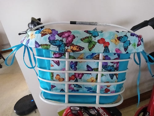Colorful Butterflies w Blue Solid backing