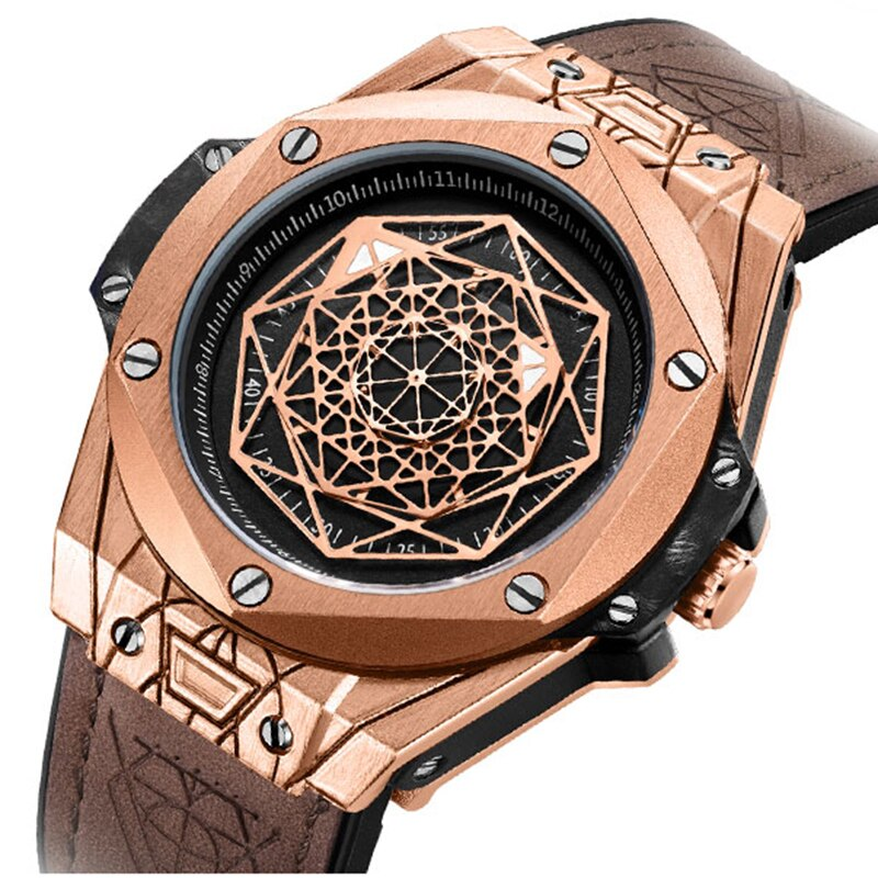 Luxury Top Brand Quartz Watches Leather Strap Military Sports Wristwatch Waterproof Watch