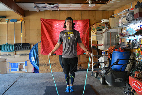 man with jump ropes