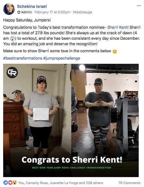 Facebook announcement post about Sherri's jump rope transformation success