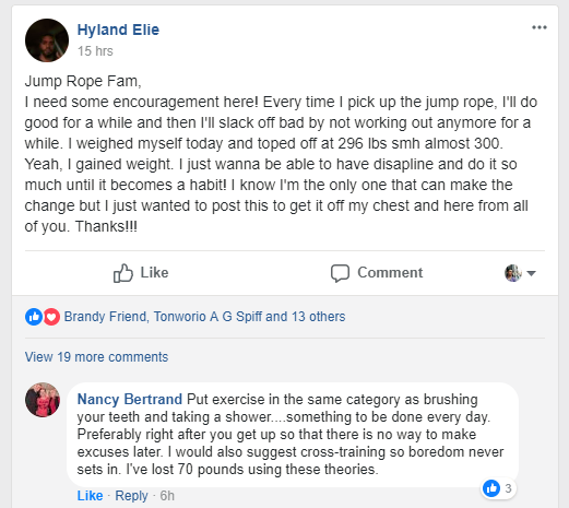 Comment and response in the Crossrope Facebook Community