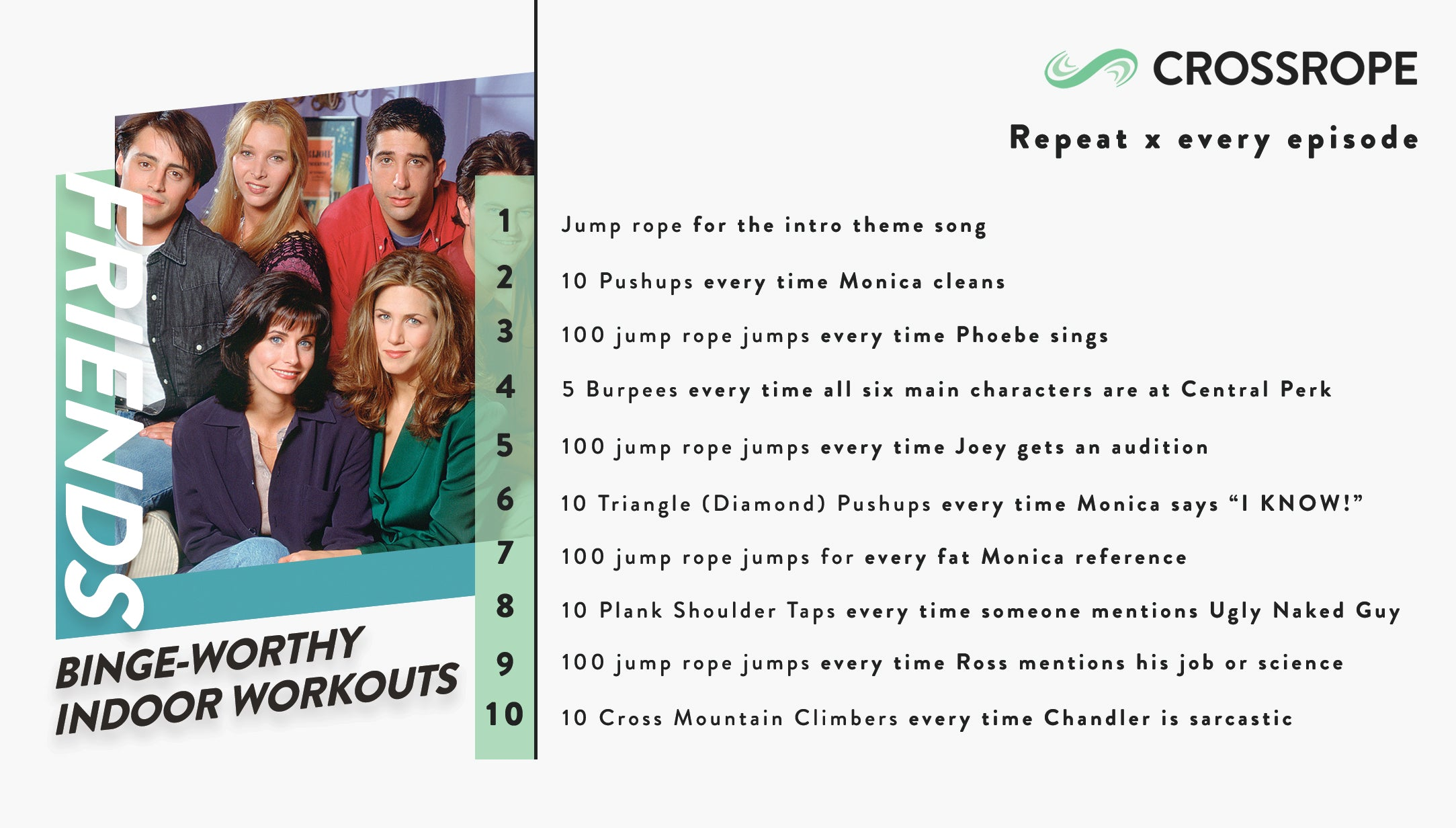 infographic image describing fun indoor workouts you can do while watching the TV show Friends
