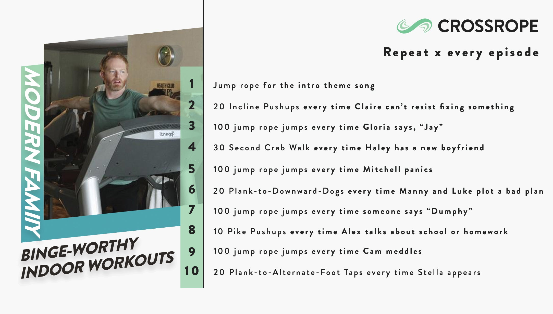 infographic image describing fun indoor workouts you can do while watching the TV show Modern Family