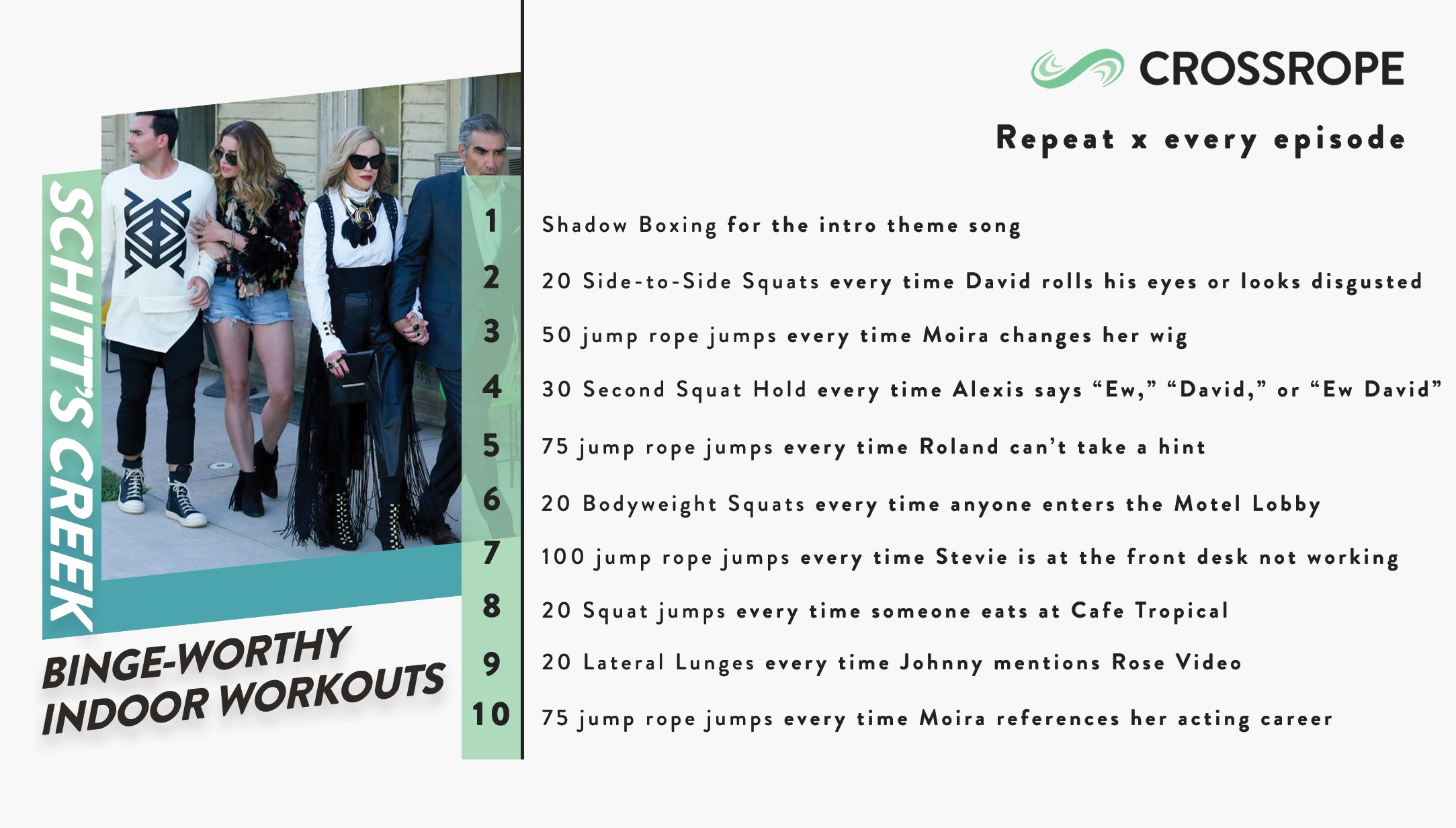 infographic image describing fun indoor workouts you can do while watching the TV show Schitt's Creek