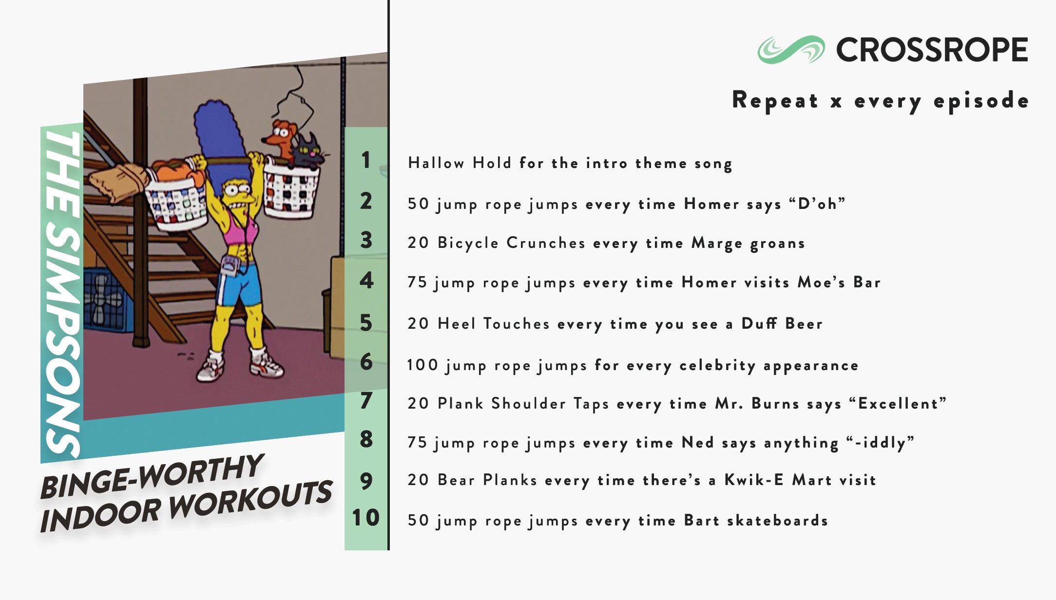 infographic image describing fun indoor workouts you can do while watching the TV show The Simpsons