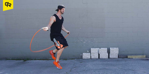 Man outside jumping rope