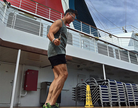 Man working out on cruise ship