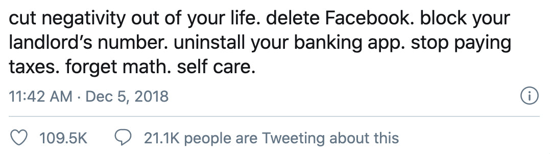 funny tweet about self-care