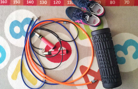 Jump ropes on a mat