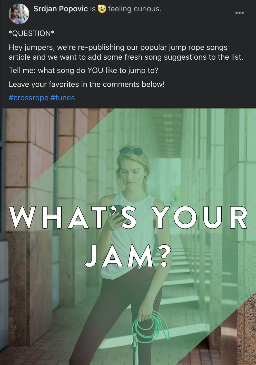 facebook post in dark mode asking community members to share their favorite workout music