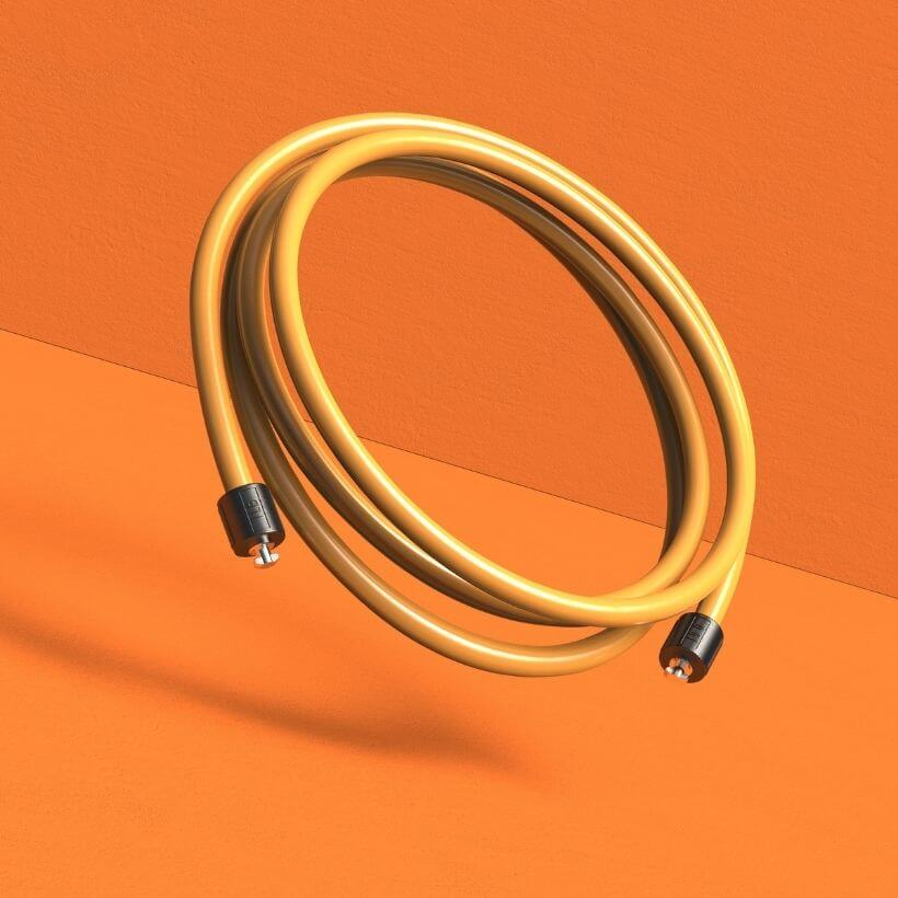 A coiled view of the orange 1 LB Speed Pro LE rope on an orange background
