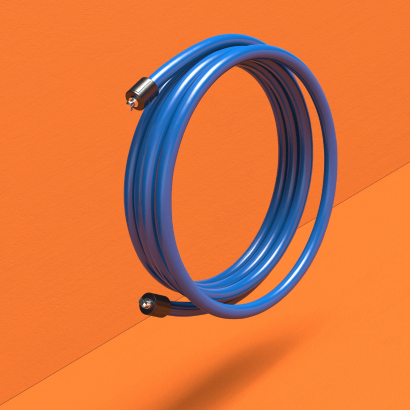 A coiled view of the blue 2 LB Speed Pro LE rope on an orange background