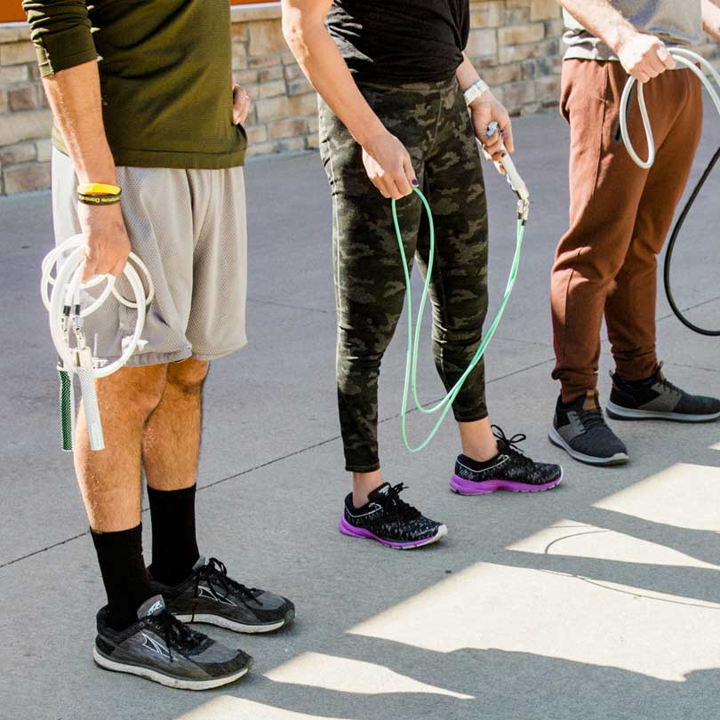 Group of people getting ready to workout with their Crossrope Jump Ropes