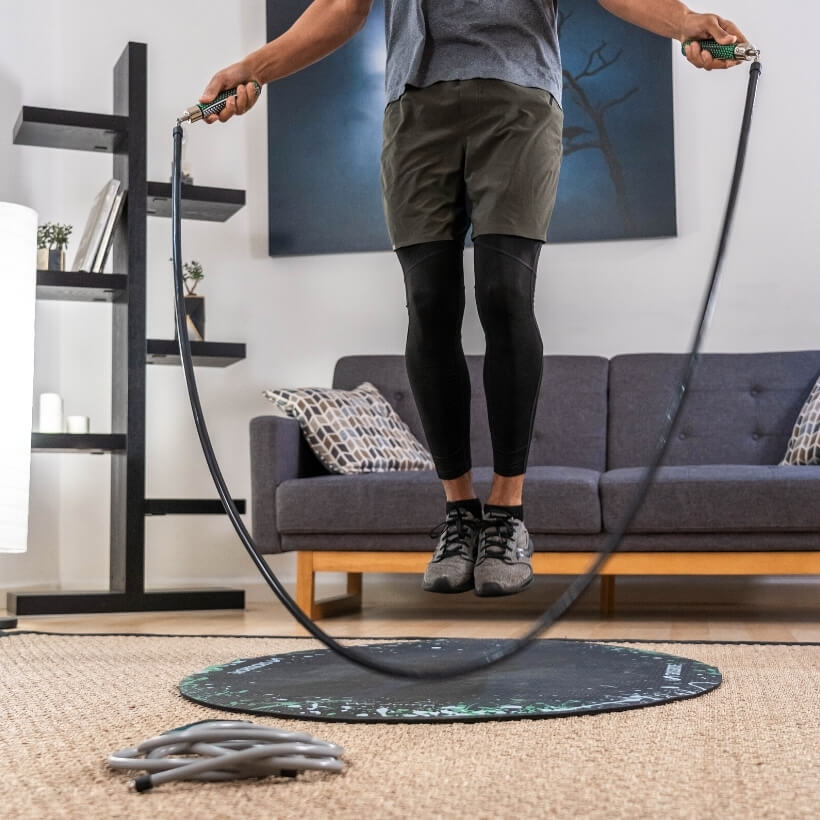 get strong set with jump rope mat indoors