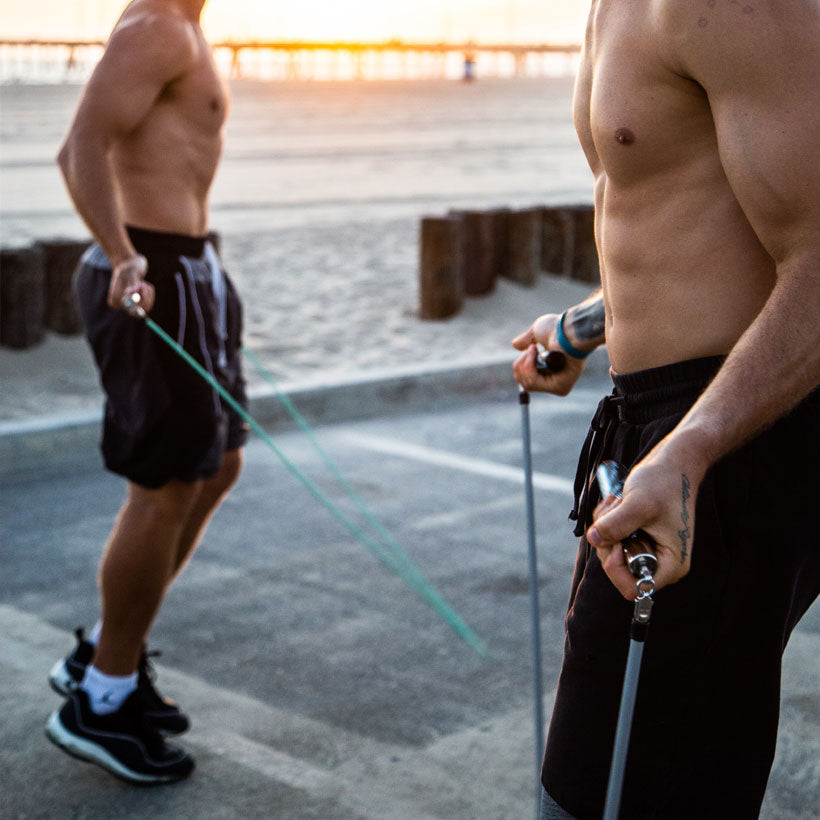 The Jump Rope Dudes using the JRD IV Slim Handles with 1/4 LB Jump Rope and JRD IV Power Handles with 1 LB Heavy Rope