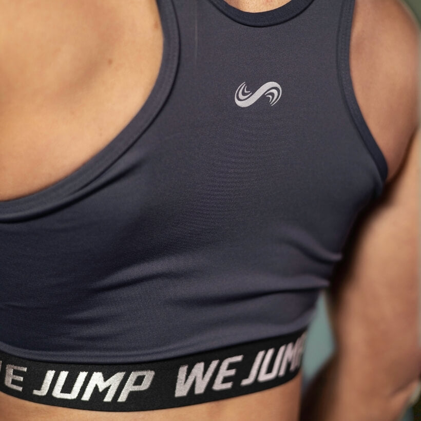 Women's We Jump Sports Bra Back with Logo