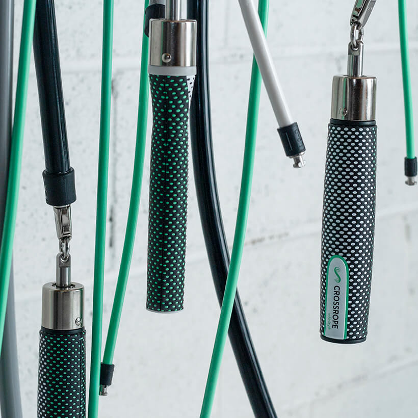 A close-up view of the 1/4 LB, 1/2 LB and 2 LB ropes with Slim Handles and Power Handles