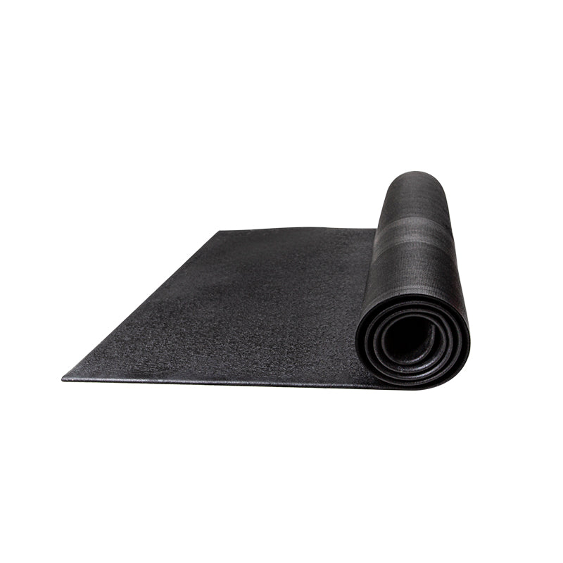 Black jump rope mat half rolled up