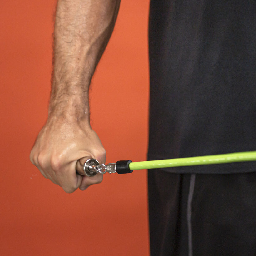 A close up view of a 1 1/2 LB jump rope being used
