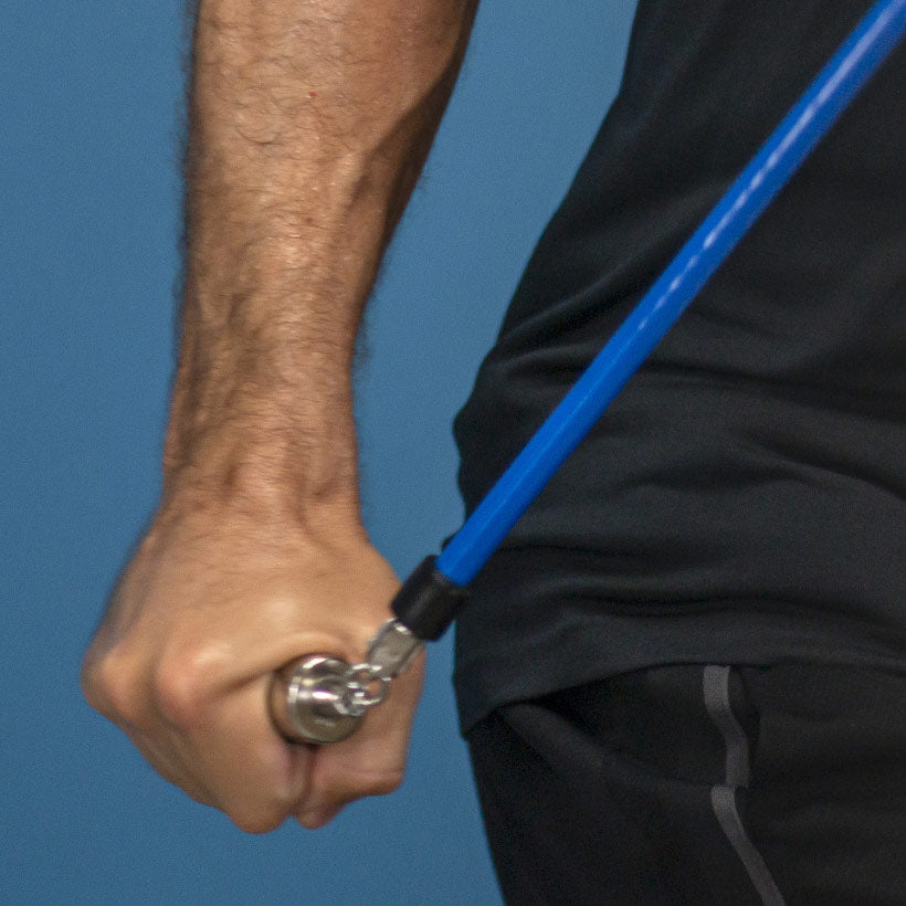 A close up view of a 2 LB jump rope being used