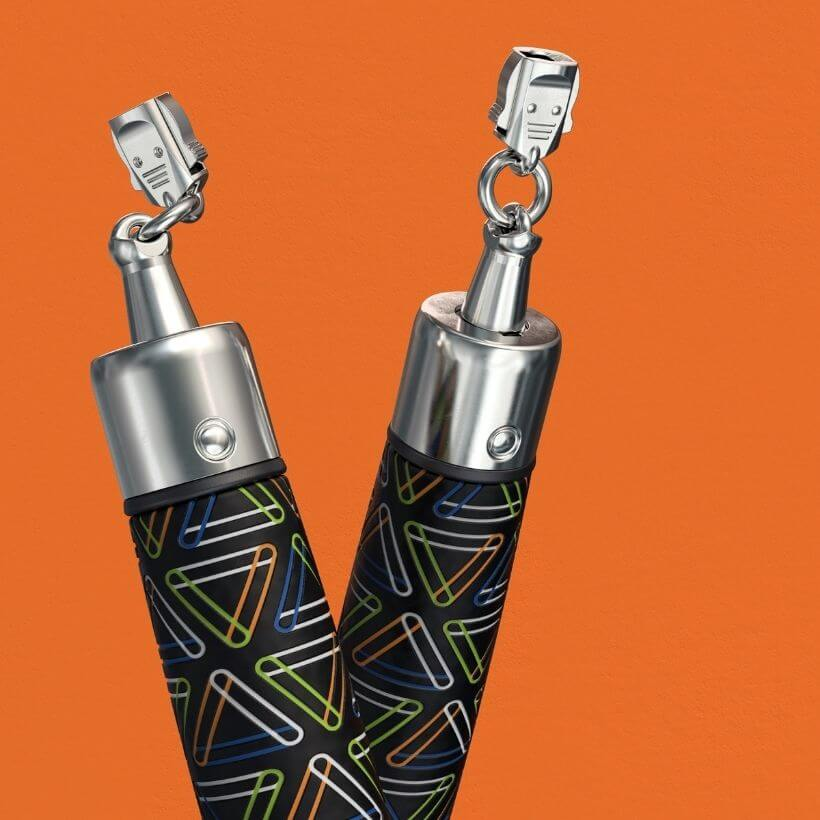 Close up view of Speed Pro LE handle connectors on an orange background