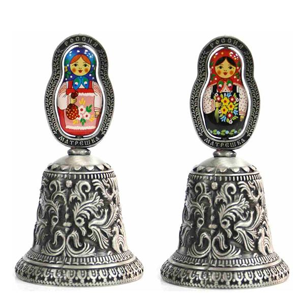 "Metal Embossed Bell with Colored Matryoshka Insert (pewter), 3.75"" / 9.5 cm"