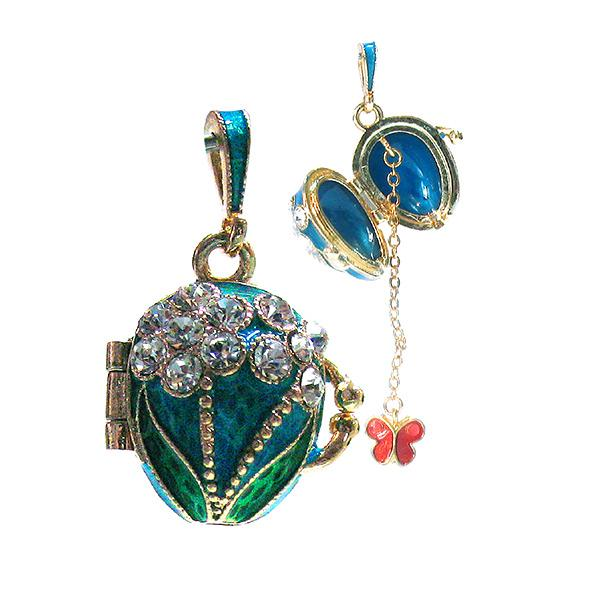 "Locket Pendant ""Two Flowers"" (turquoise), 1"" (1214-5006)"
