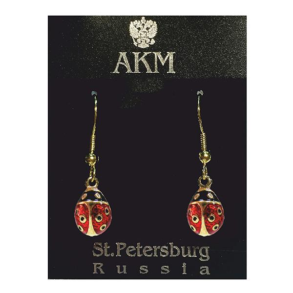 "Russian Style Earrings Set ""Ladybird"" (red and black), 1219-32-01"