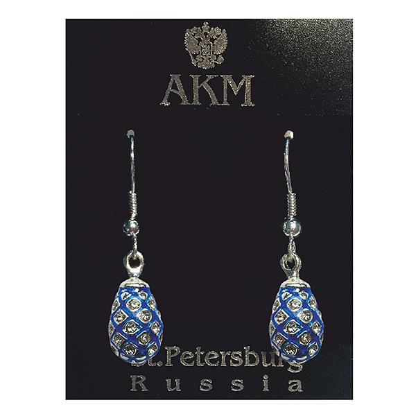 "Russian Style Earrings Set ""Pine Cone with Crystals"" (blue), 1219-39-02"