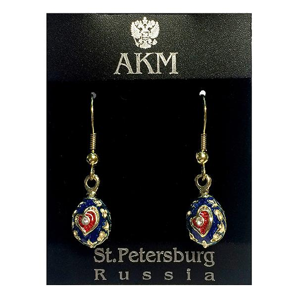 "Russian Style Earrings Set ""Heart"" (red and blue), 1219-49-02"