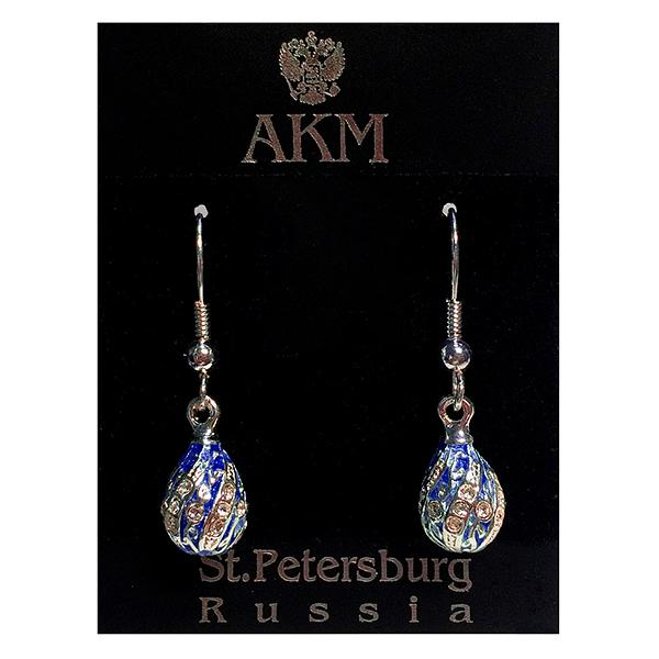 "Russian Style Earrings ""Twist with a Twig"" (dark blue and golden), 1219-65-02"