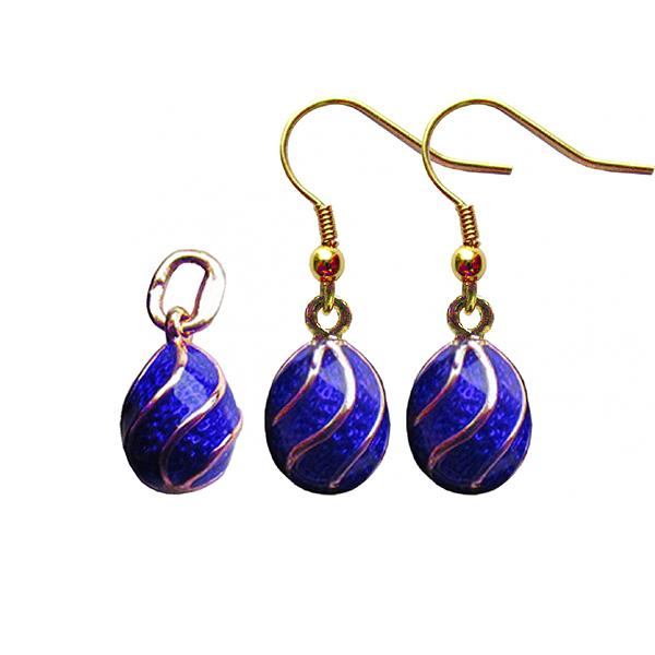 "Russian Style Pendant and Earrings Jewelry Set ""Spiral"" (blue), 1220-12-02"