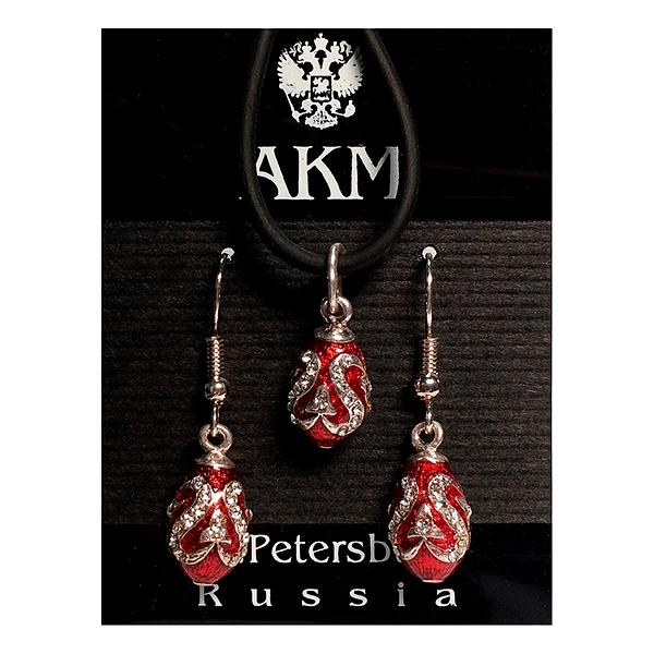 "Russian Style Pendant and Earrings Jewelry Set ""Arrow"" (red and golden), 1220-15-01"