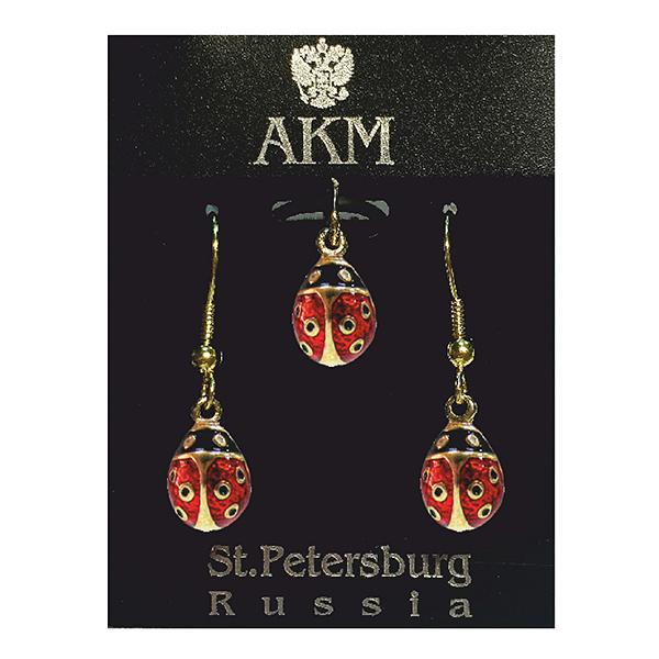"Russian Style Pendant and Earrings Jewelry Set ""Ladybird"" (red and black), 1220-32-01"