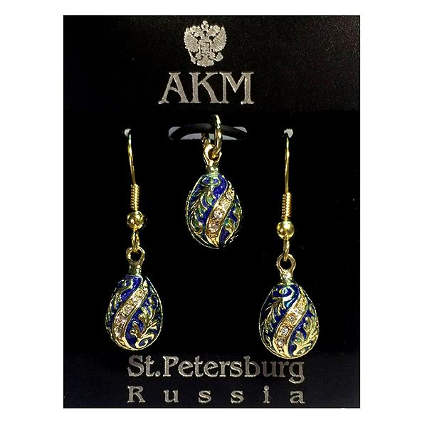 "Russian Style Pendant and Earrings Jewelry Set ""Twist with Flowers"" (blue), 1220-54-02"