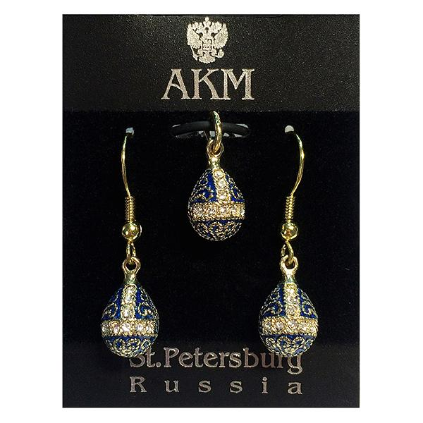 "Russian Style Pendant and Earrings Jewelry Set ""Finift"" (blue and golden), 1220-57-02"