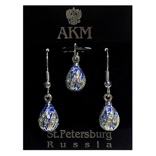 "Russian Style Pendant and Earrings Jewelry Set ""Twist with a Twig"" (dark blue and golden), 1220-65-02"