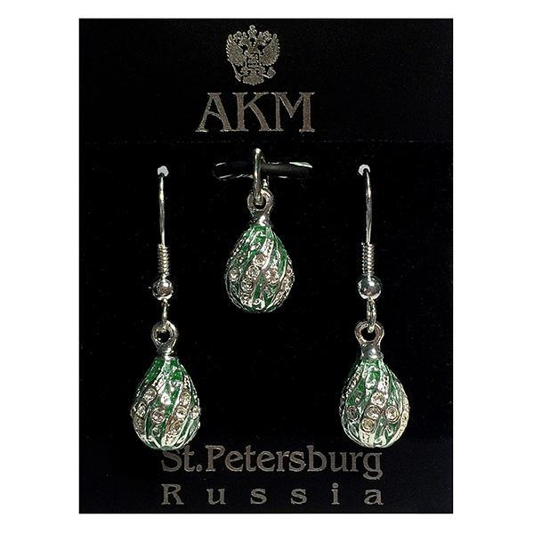 "Russian Style Pendant and Earrings Jewelry Set ""Twist with a Twig"" (green), 1220-65-03"