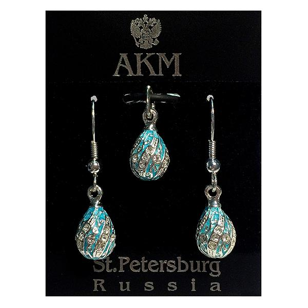 "Russian Style Pendant and Earrings Jewelry Set ""Twist with a Twig"" (blue), 1220-65-07"