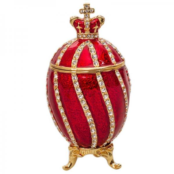 "Easter gift Mini Easter Russian Style Egg with Twisted Pattern and a Crown RED, 1.5"" (HE0222-1)"