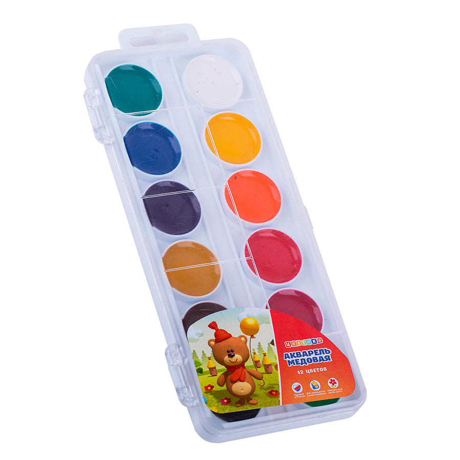 Set of 12 watercolor honey paints in a plastic box, Nevskaya Palitra