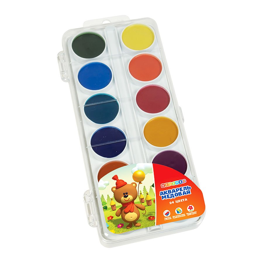 Set of watercolor honey paints in a plastic box, 24 colors, Nevskaya Palitra