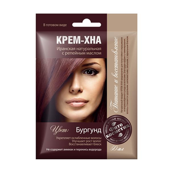 Ready-to-Use Henna Cream with Burdock Oil. Burgundy Shade, 1.77 oz / 50 ml