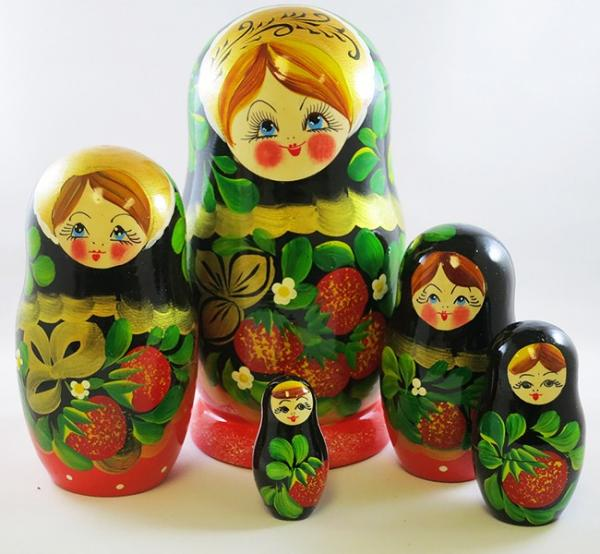 Nesting Doll (Matryoshka) Berry Basket Russian Traditional Souvenir, 5 Pcs, Height - 4.5