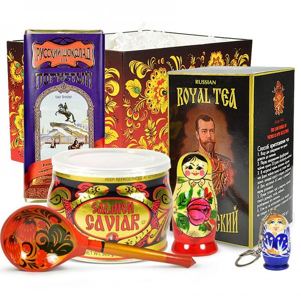 "Red Caviar Gourmet Gift Set with Traditional Russian Tea and Chocolate ""Russian Special"" (medium box)"