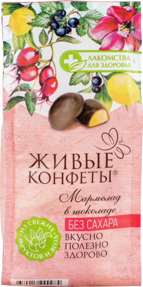 SUGAR FREE Marmalade, currants and rosehips, with lemon in dark chocolate, 150 gr/ 5.4 Oz