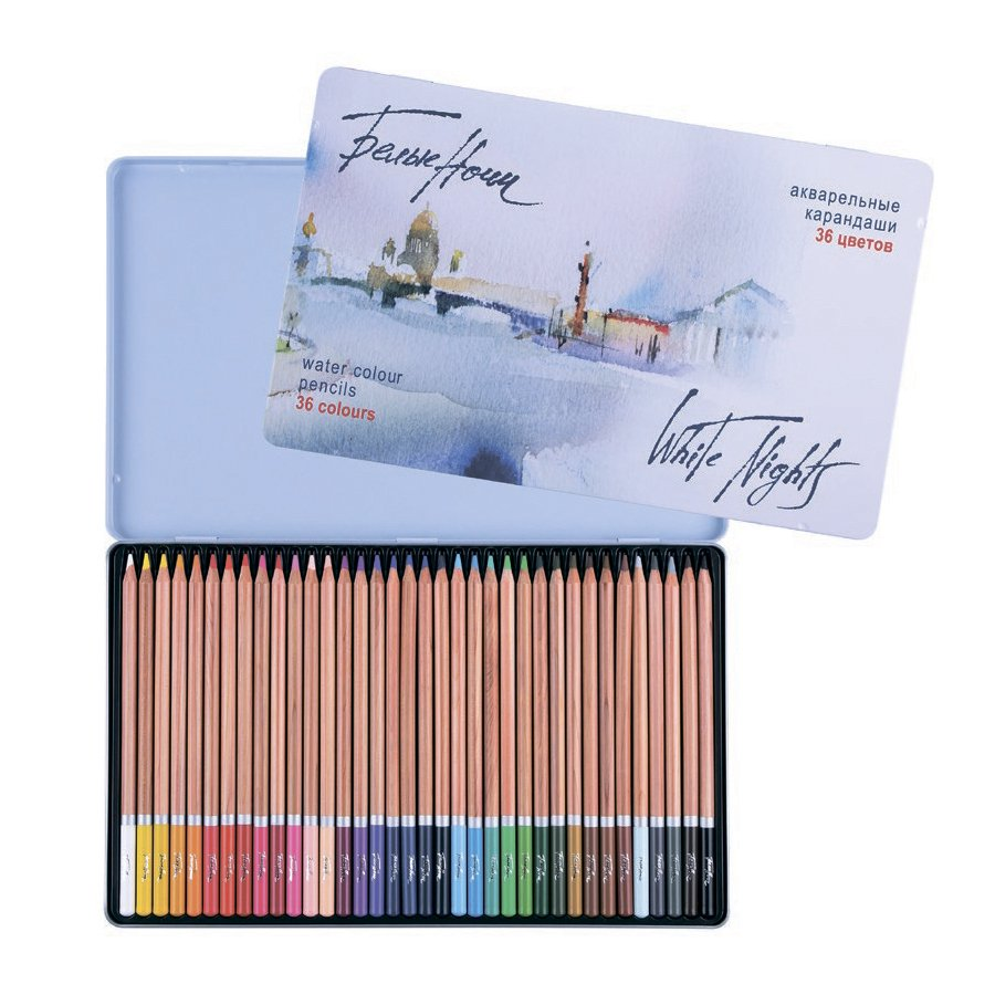 Set of watercolor pencils 36 colors, White Nights, tin pencil case, Nevskaya Palitra