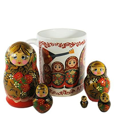 Gift Set - Russian Nesting Doll Matryoshka (5pcs) with Ceramic Coffee Mug Khokhloma