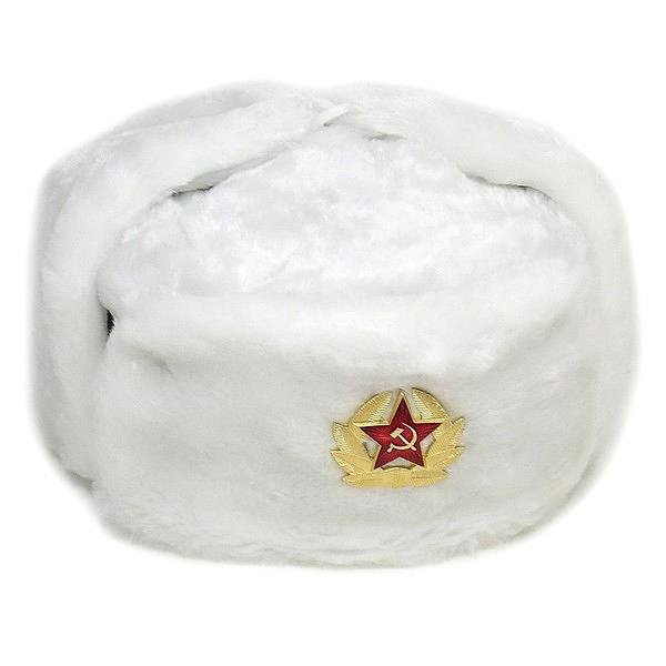 Ushanka, size 58/M. Russian Military Hat with Soviet Army Soldier Insignia, White