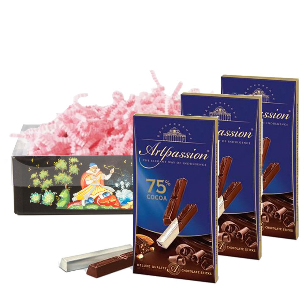 Set of Russian Inspiration chocolate sticks 75 % cocoa with almonds, 100g / 0.8 lb * 3 PCs, Babaevsky